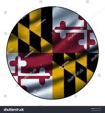 Maryland Flag Vinyl Illustration Waving Flag Round Circle Maryland Stock Illustration