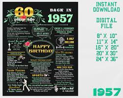 gifts for a woman turning 60 60th birthday chalkboard events 1957 usa 60th birthday sign