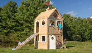 fantastic wooden outdoor playhouse with slide design combined with