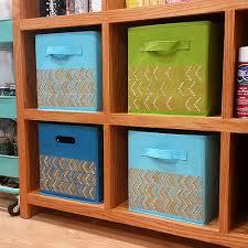 organization bins stenciled canvas organizational bins project by decoart