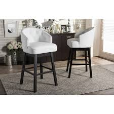 Nail Bar Table And Chairs Baxton Studio Avril Modern And Contemporary White Faux Leather