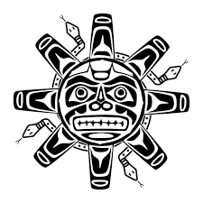 black and white of taino sun with snakes tf
