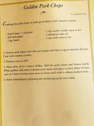 french 75 recipe card laura ingalls wilder pork chop recipe very yummy pork chops are