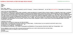 semi truck driver offer letter