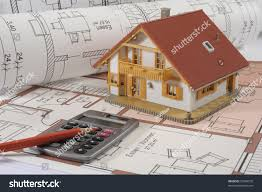 model homes floor plans model house calculator on construction plan stock photo 37849570