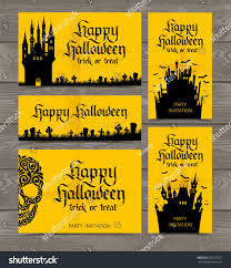halloween party invitation background vector set yellow cards castles happy stock vector 222377527