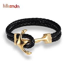 anchor braid bracelet images Mkendn genuine handmade braided vintage leather anchor bracelets jpg