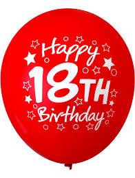 balloons for 18th birthday pre printed balloons 18th birthday 30cm assorted colour 12pk