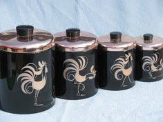retro kitchen canisters set ransburg rooster canisters two owls vintage
