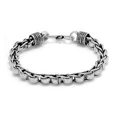 stylish designer chain chain design silver toned oxidized bracelet