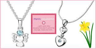 birthstone pendants for aquamarine march birthstone jewellery for children diamond kids