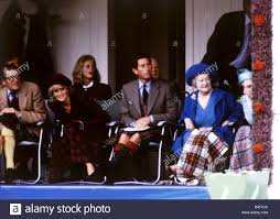 the royal family watching braemar highland games 1987 stock photo