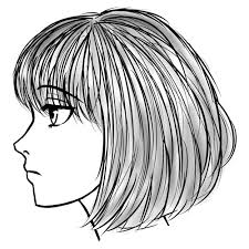 drawn manga side face pencil and in color drawn manga side face