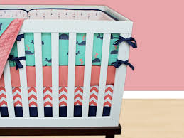 Gender Neutral Nursery Bedding Sets by Whale Crib Bedding Coral Navy Mint Green Pink Baby Nursery
