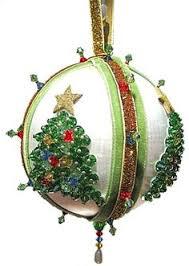 satin beaded christmas ornament kit bejeweled snowball via etsy