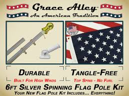 Flags And Flagpoles Flag Poles Tangle Free Flag Pole Kit With American Flag Silver