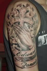nice banner with close hands spiritual cross tattoo golfian com