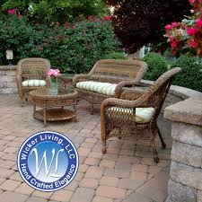 Outdoor Resin Wicker Furniture by Sanibel 5 Piece Wicker Set Outdoor Patio Furniture