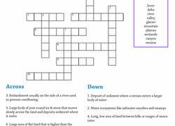 earth science crossword landforms worksheet education com