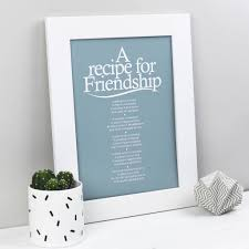 personalised friendship recipe print with friend poem by bespoke