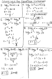 exponential and logarithmic equations and inequalities worksheet