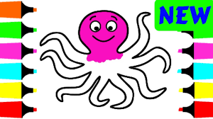 how to draw octopus for kids painting and drawing coloring pages