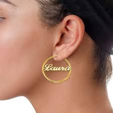 name hoop earrings 18ct gold sterling silver name hoop earrings