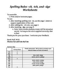 spelling rules ck tch and dge worksheets by phonics fun with