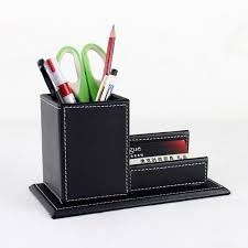 Leather Desk Organizers Wood Structure Leather Desk Square Pen Box With Name Card Holder