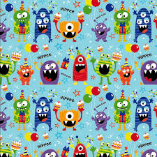 kids wrapping paper woo hoo monsters 3m gift wrap