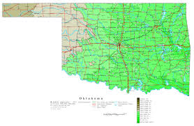 United States Map With Interstates by Large Detailed Elevation Map Of Oklahoma State With Roads