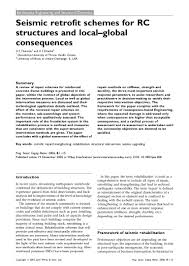 seismic retrofit for rcc structureslocal global consequences