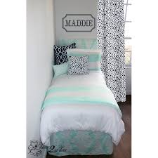 scarves and matching pillows bed of tennessee fabric rag mint navy wide stripe custom designer bedding set designer