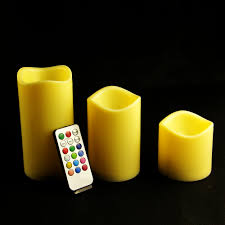 3pcs set led remote control electronic wax candle light battery