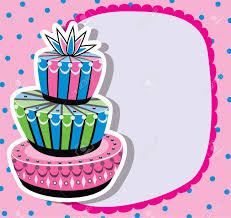 card with birthday cake and copy space royalty free cliparts