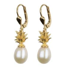 gold plated earrings pineapple and pearl sterling silver gold plated earrings