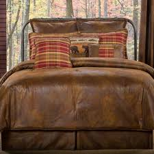 bedroom design brown leather bedspread sets with pattern pillows