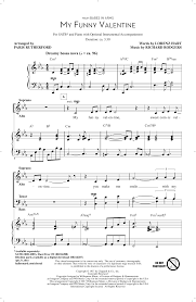 my funny valentine choral satb sheet music by by paris rutherford