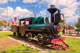Trains In America Old Steam Train Engine In Jasper Town Site Park Alberta