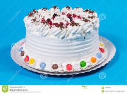 tasty creamy birthday cake colorful candy adorned stock photo