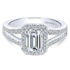 engagement rings emerald cut 14k white gold emerald cut halo split shank diamond engagement