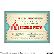 Personalized Birthday Invitation Cards Vintage Circus Carnival Birthday Party Ticket 5x7 Paper Invitation