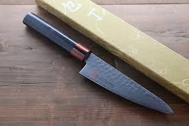 Handmade Kitchen Knives Uk Iseya Vg10 33 Layer Hammered Damascus 135mm Small Santoku Knife