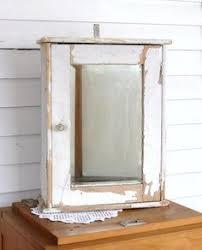 vintage wooden bathroom medicine cabinet w beveled mirror ebay