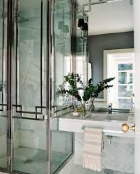 Modern Deco Modern Art Deco Bathroom With Walk In Shower And Mounted Sink