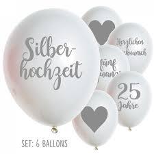 ideen zur silbernen hochzeit silberhochzeit ballons luftballons 25 jahre hochzeit jubiläum