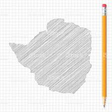 Zimbabwe Map Zimbabwe Map Sketch With Pencil On Grid Paper Stock Vector Art