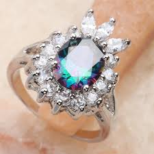 silver coloured rings images Inspired multi color rainbow stone 10 10mm semi precious stone jpg
