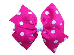 pink hair bow hot pink polka dot hair bow pink hair bow 4 inch bows pink