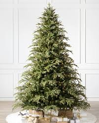 christmas livingroom brewer spruce artificial christmas tree from balsam hill